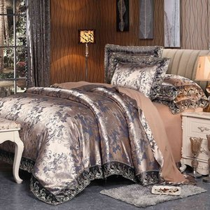 4 Pieces Silver Brown Luxury Satin Cotton Lace sets Double Queen King size Bedding duvet cover bed sheet set Pillowcases