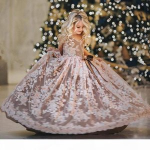 Flower Girls Dresses Luxury Embroidery Appliques Kids Pearls Evening Gowns Tulle Sleeveless Flowergirl Dress For Sales