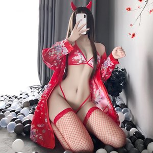 Kimono Japanese Dress Women Sexy Lingere Exotic Sets with Robe Cosplay Costume Kawaii Lingerie with Silk Stockings Exotic Set L0407