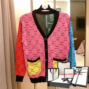 Женские вязаные вязаные 2021 модные свитера классические буквы печати Свободная леди Cardigan свитер повседневная V-образным вырезом с длинным рукавом осенью высокого качества вязаная одежда