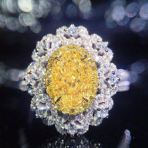 White Gold 1ctw Centre 1ct Oval Yellow Moissanite Halo Ring Cut Luxury Fine Wedding For Women Cluster Rings
