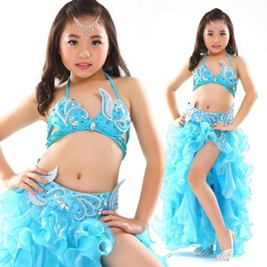 Kids Stage Performance Belly Dancing Clothes 3-piece Oriental Outfit Bra, Belt, Skirt Girls Dance Costume Set For Children Wear