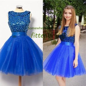 Real Photos Royal Blue Scoop Sequins Short Prom Dresses A Line Tulle Homecoming Dress Cocktail Party Gowns Plus Size