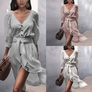 3 Styles Women Dresses Long Sleeve V-neck Button Lace Up Solid Color Sexy Loose Large Size Dress Elegant Retro Fashion Temperament