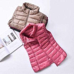 2020 New Women 90% White Duck Down Vest Women's Ultra Light Duck Down Vest Jacket Autumn Winter High collar Sleeveless Coat C7oi#