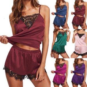 Sexy Summer Women Lace Pijamas conjuntos sin mangas Tops + Shorts Sleepwear Post Talla Tallo Satin Cami Ver a través de Pijama Mujer S-3XL