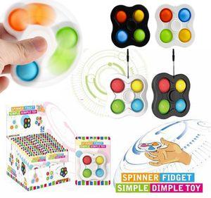 New Plus Fidget spinner 5 sides Custom Popit Finger Fidget Spinner Toys Pop It Flip Spinning Fidget Toys