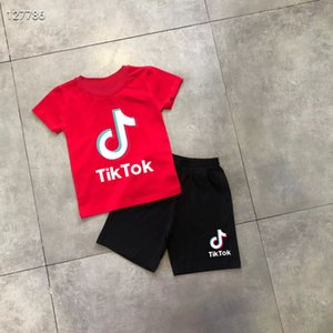 2021 fashion tik tok summer short-sleeved suit baby T-shirt men's and women's children's clothing 2-piece set 2-10 years old
