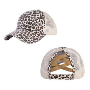 Party Hats 25 Colors Criss Cross Ponytail Hat Woman Washed Mesh Messy Bun Camo Leopard Sunflower Plaid Baseball Cap