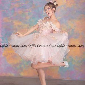 Off the Shoudler robe de retour Cocktail Dress Mini Skirt Homecoming Dress Tulle Appliques Lace Graduation Party Gowns