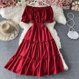 드레스 빈티지 슬래시 목 미디 드레스 여성 섹시한 어깨 짧은 소매 높은 허리 프릴 Vestidos 여성 여름 새로운 패션