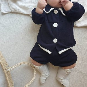 Infant Clothing Sets Girls Outfits Baby Clothes Kids Spring Summer Cotton Long Sleeve Tops Coat Shorts Pants 2Pcs 0-2Y B4788