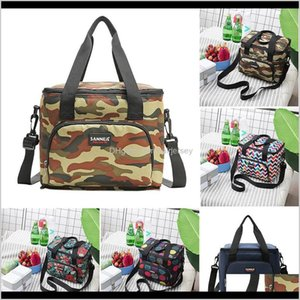 Storage Bags Polyester Portable Lunch Bag Insulated Cooler Camping Picnic Box Shoulder Thermal Double Layer 10Ll W621 Cyiyz Gut6B