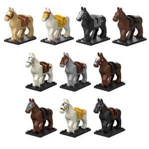 Animal Horse Warhorse Battle Steed Model Kits Minifigs Action Figure Building Blocks Bricks Middle Ages Medieval knight Mounts Toy