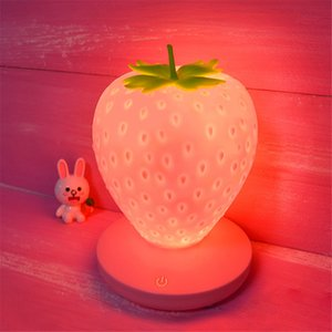 Rechargeable strawberry USB touching night lights for children room decoration table lamp