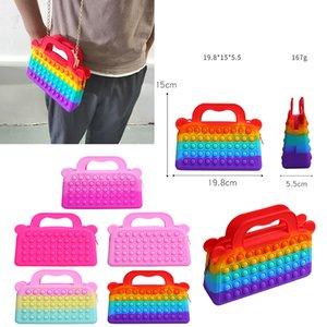 Fidget Toys Sensory Fashion School student satchel Push Bubble Rainbow Tie dye Anti Stress Educational Children Adults Decompression Toy Surprise wholesale xz