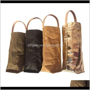 Gift Wrap Nordic Style Washable Storage Reusable Washed Kraft Paper Wine Bags Bottle Carrier Jck1N Xsii6