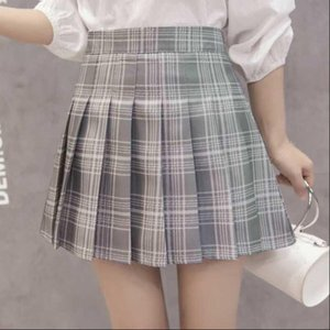 Ulzzang Kawaii Women Plaid Skirt Skirts Preppy Style High Waist Chic Stitching Student Pleated Female Cute Sweet