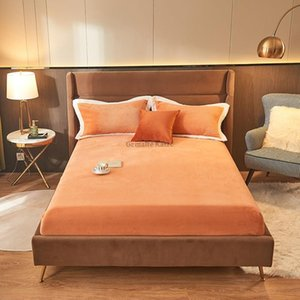 Sheets & Sets 1PC Winter Soft Warm Solid Color Good Quality Plush Thicken Milk Velvet Double Queen King Size Breathable Fitted Bed Sheet Hom