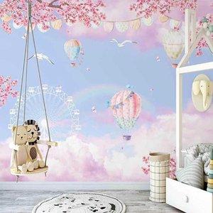 Пользовательские фото обои 3d окрашенные вручную мечта облако рая, районный воздушный шар детская комната росписью творческий пакет де-пара 3 D A0603