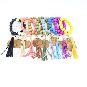 Personalized High Quality Colorful Wooden Bead Wrist Stretch Disc Keychain Custom Tassel Wristlet Bracelet Key rings