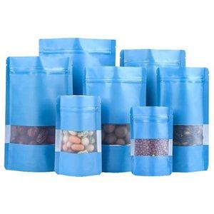 100 adet / grup Mat Mavi Doypack Alüminyum Folyo Plastik Paketi Çanta Pencere Ile Mylar Kendinden Mühür Snack Fermuar Paketi Torbalar Saklama Torbaları