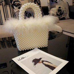 Totes Faux Fur Pearl Evening Bag Women Hand Woven Panelled Beaded Tote Purses And Handbags Female Cute Shoulder Dinner Party