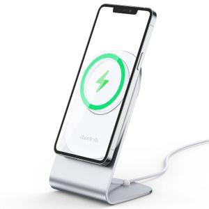 Telefonständer für Magssafe-Ladegerät, Aluminium-Ladedockhalter-Wiege-Schreibtisch, kompatibel mit der iPhone 12-Serie - Silber [Magsafe ist nicht enthalten]