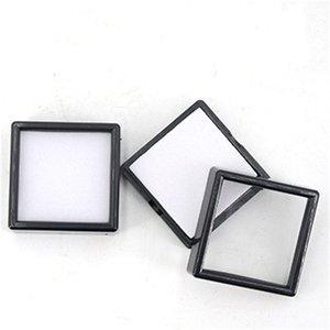 80 pcs plástico quadrado solto diamante display caixa caixa de gema branco caso preto de espuma de espuma de espuma miçangas caixa de pingente mostra 3 * 3 * 2CM621 T2