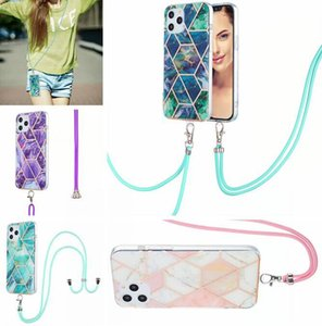 Lanyard Bling Geometric Marble Soft Cases For Samsung A20 A30 A50 A31 A11 M51 M31 A21S TPU IMD Electroplate Reflective Streaks Necklace Cover