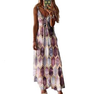 Women's summer casual print suspender vest dress