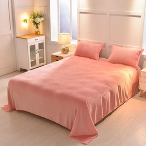 Sheets & Sets Solid Color Bed Sheet And Case Coral Fleece Bedcover Soft Linen Adult Mattress Cover For Bedroom Comfortable Bedspread