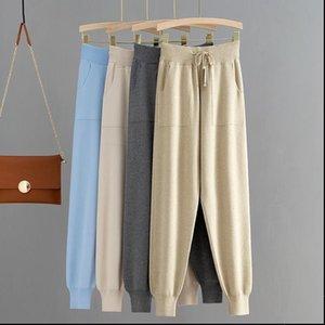 Women Pants Knitted High Waist Crop Harem Trousers Solid Peg Leg Fly Casual Drawstring Winter Warm Workwear Carrot