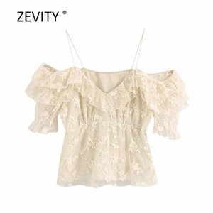 Zevity women fashion flower embroidery casual mesh blouse ladies chic cascading ruffle sling shirts pleats feniminas tops LS68161