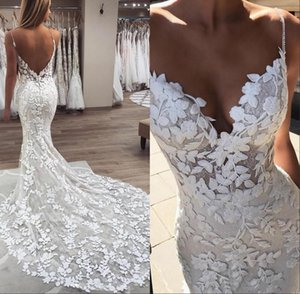 Beads Pearls Spaghetti Strap Lace Mermaid Wedding Dresses 2021 Gorgeous 3D-Floral Appliques Boho Bridal Gowns Low Back Robe De Mariee