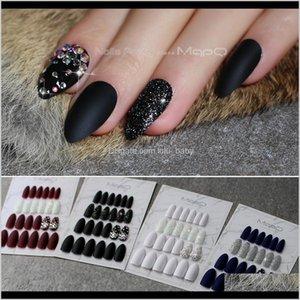 Stiletto Matte Black Glitter False Crystal Full Sets Salon Design Blue Fake Nails Red Customizable Almond White Yjrum 4Sr0A