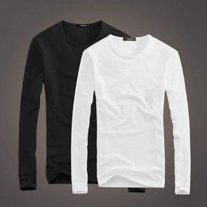Men's Solid Round Neck Long Sleeve T-shirt Men's V-neck Base Shirt Early Spring Large T-shirt