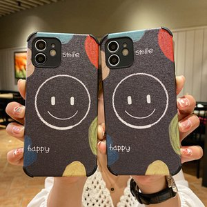 Suitable for iPhone12 mobile phone case 7 for Apple 8 protective shell Plus four-corner anti-fall smile face simple net red personality 11