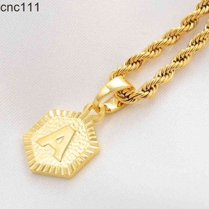 Anniyo A-Z Letters Necklaces Women Men English Initial Alphabet Charm Pendant Rope Chain Jewelry African Wedding Gift #114006B