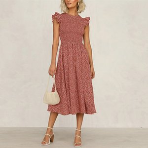 Bohemian A Women Small Flowers Summer Swing High Taille Midi Jurk Ruche Losse Casual Mode Ladies Plus Size Dress New 20's