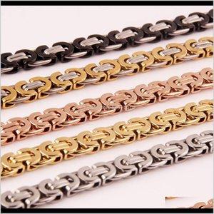 Chains 55Cm Men'S Chain, Auniquestyle Tone Punk Gold Sier Black Color Titanium Steel Necklace For Men Curb Cuban Link Hip Hop Jewelry Tv3Xm
