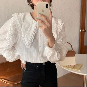 Womens Shirts Arrival Elegant Tops Women Shirt Lace Stitching Lantern Sleeve Doll Collar Korean Style Loose Blouse Blusas