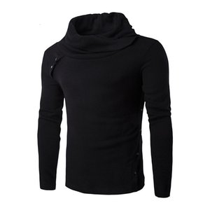 Collar Wholesale-New Warm Slim fit Turtleneck Knit Heaps Pullover Mens Sweater Men Black Grey cotton sweaters coat CXN0