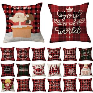 Children's Christmas pillowcase pillow Checkered Linen Red Plaid Series Home Living Room Decoration Halloween Valentine's Day New Year Gift