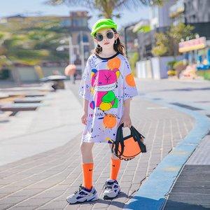 Big Girls cartoon casual dresses Summer Children graffiti printed Short Sleeve loose Long T-shirts Designer Old Kids Clothing 3-15T 503