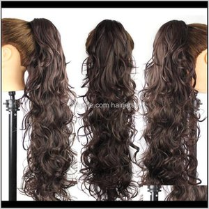 Ponytails Products Drop Delivery 2021 Wholesale25Inch65Cm 220G Women Long Wave Curly Style Ponytail Claw Pony Tail Clip In On Synthetic Hair