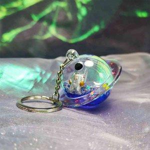 Cristal Creative Astronaut Globe Flutuante Spacecraft Star Luxo Líquido Líquido QuickSand Planeta Chave Cabeçalho Keyfob