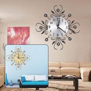 Wanduhren Takt Silent Aluminium Zifferblatt Blume Form Diamant Glod / Splitter Haushalt Wohnzimmer Ornament Wohnkultur-