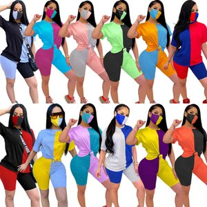 Women Summer 2 Piece Set Sportswear Designer tracksuits Fashion Contrast Color Stitching Short-sleeved Pants Casual Jogging Suit With Mask