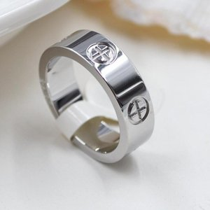 Titanium steel love ring silver rose gold wedding Jewelry ladies engagement Ring men (without box)